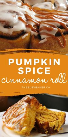 These Pumpkin Spice Cinnamon Rolls are the perfect fall treat made with real pumpkin and infused with fragrant spices! They're soft and moist and topped with an easy cream cheese glaze and caramel sauce!