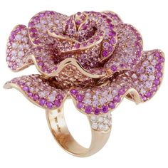 Adler Diamond and Pink Sapphire Pave Rose Gold Rose Ring | From a unique collection of vintage cocktail rings at https://www.1stdibs.com/jewelry/rings/cocktail-rings/