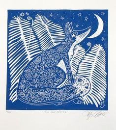 linocut printmaking Fox Ferns blue moon stars nature forest fairytale folk lore starry night home interior country cottage USD) by linocutheaven Art Fox, Linocut Prints, Art Prints, Fox Print, Art Et Illustration, Graffiti, Printmaking, Original Art, Drawings