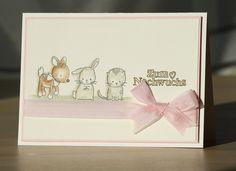 Baby- & Geburtskarten - Babykarte, Karte zur Geburt eines Mädchens - ein Designerstück von Eutopia bei DaWanda Diy Cards Baby, New Baby Cards, Kids Cards, Your Cards, Tarjetas Pop Up, Baby Accessoires, Craft Day, Baby Scrapbook, Happy Baby