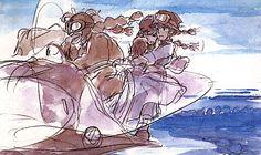 Film: Castle In The Sky ===== Scene: Sheeta's Rescue ===== Character's Shown: Dola, Sheeta, & Pazu ===== Production Company: Studio Ghibli ===== Director: Hayao Miyazaki ===== Producer: Isao Takahata ===== Written by: Hayao Miyazaki ===== Distributed by: Toei Company