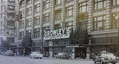 """CROWLEY'S - Detroit, MI 1950s   Christmas time! The sign on front of store says """"Detroit's Friendly Christmas Store"""" """"Where It's Easy To Shop"""""""