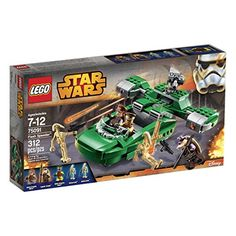 Pilot the Royal Naboo Security Forces Flash Speeder with 4-minifigure cockpit 3 spring-loaded shooters and opening storage compartments. Deploy the Naboo forces into battle with the agile Flash Speed...