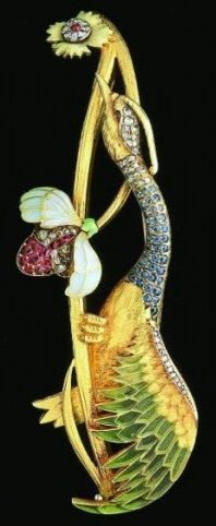 An Art Nouveau crane brooch by Luis Masriera, composed of gold, enamel, rubies, and diamonds (ca. 1902).