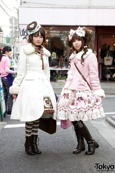 Harajuku Lolita Girls in Angelic Pretty, Baby The Stars Shine Bright & Mary Magdalen (Tokyo Fashion) -- Their entire outfits are wonderful. <3