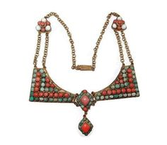 Turquoise and Coral Stone Tibet Chinese Necklace, Both Rare and Unique
