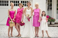 Coren Moore :: Brides & Maids  Courtney, Alex, and Peyton bridesmaid's dresses  Classic flower girl dress  Chloe bridal gown