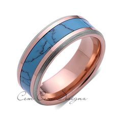 8mm,Unique,Rose Gold,Turquoise,Tungsten Ring,Rose Gold,Wedding Band,