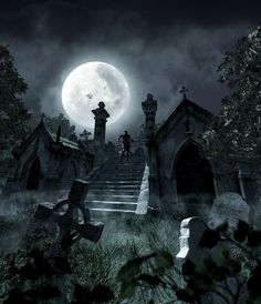 Gothic Fairies | gothic-angel-graveyard-night - fairies and vampires