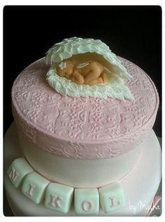 Baby pink wings christening cake