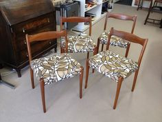 "Fler Dining Chairs. Covered in Warwick fabric ""Rainforest"" colour bisque."