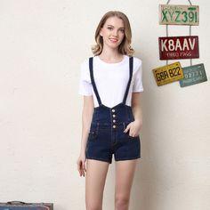 Women Denim Overalls Shorts High Waist Jeans Short overalls Plus Size Suspender Detachable cute school girl casual hot wear
