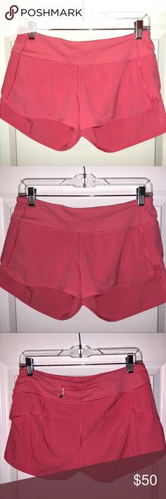 """Light Pink Lululemon Speed Short Size 6 Excellent condition. Worn only a handful of times  I believe this is the """"pink lemonade"""" color. It's hard to capture the color of it in my pictures just because of lighting but it looks just like lulu ad that I've attached. lululemon athletica Shorts"""