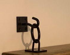 Set of 2 Unique Industrial Chain Bracket Kits   Etsy Hanging Shelves, Wood Shelves, Decor Above Sofa, Black Floating Shelves, Wall Plug, Shelf Brackets, Bespoke Furniture, Rustic Industrial, Quality Furniture