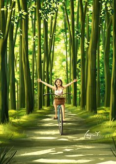 Flying With My Bike - Art Print - Wall Deco - Summer - Spring - Forest - Nature Lover - Peijin Spring Forest, Cartoon Art Styles, Art Et Illustration, Wow Art, Anime Scenery, Bike Art, Green Art, Anime Art Girl, Aesthetic Art