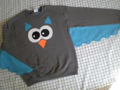 OWL sweatshirt with wings adult sizes customize your colors bird sweater owl shirt on Etsy, $45.36 CAD