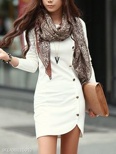 Beautiful Business Casual Attire for the Ladies Elegant Dresses, Casual Dresses, Casual Outfits, Fashion Dresses, Woman Dresses, Mini Dresses, Dresses With Sleeves, Casual Clothes, Winter Dresses