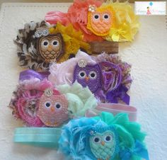Blue Pink Owl Baby Girls headband / Blue and Pink by HappyBOWtique, $8.99