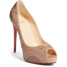 "Christian Louboutin 'Suellena' Laser Cut Peep Toe Pump, 4 3/4"" heel (1 700 AUD) ❤ liked on Polyvore featuring shoes, pumps, heels, nude patent, peeptoe pumps, glitter peep toe pumps, high heel pumps, peep-toe pumps and stiletto pumps"