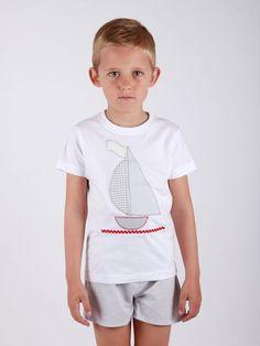 conjunto #niño #personalizado diseño #velero con #short  #ajuego