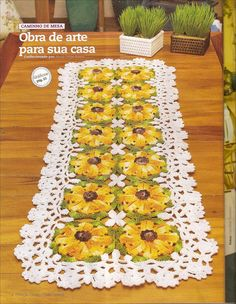 Caminho de mesa em croche florido - CROCHE COM RECEITAS