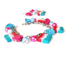 Jewelry set Pink Rose Bracelet  turquoise by BrightFloralJewelry, £17.00