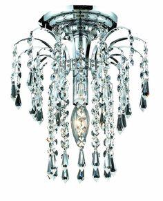 Falls 1 Light Crystal (Clear) Flush Mount in Chrome Finish #ElegantLighting