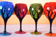 """Hand painted wine glasses from Rebecca Suriano. """"I am a natural born artist and reformed rebellious party girl. I didn't always know which path to take in life, but I always knew I had an entrepreneurial streak. My """"ah-ha"""" moment came at a lecture by my favorite author, Elizabeth Gilbert of """"Eat, Pray, Love"""" fame. When Gilbert shared the words """"obey what is clear,"""" I felt as though she was speaking directly to me. I had to turn my dream of starting my own business into a reality. There's…"""