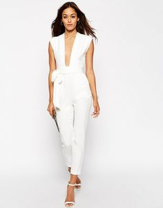 ASOS Plunge Front Tailored Jumpsuit in white with plunging neckline, belted waist, and side pockets