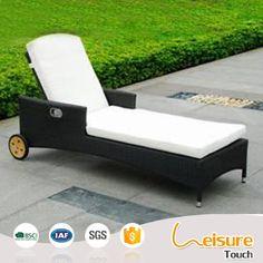 Outdoor patio furniture aluminum frame rattan sun lounger beach sunbed deck chair