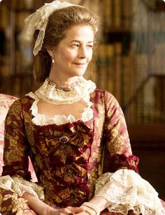 Costume detail for Lady Spencer (Charlotte Rampling), mother of Georgiana Duchess of Devonshire, in 'The Duchess', 2008.