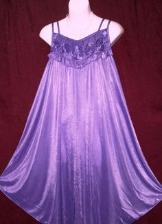 PURPLE, NIGHTGOWN, CHEMISE,W/ROSETTES BODICE,DOUBLE SPAGHETTI STRAP-XXL #226 in Clothing, Shoes & Accessories | eBay