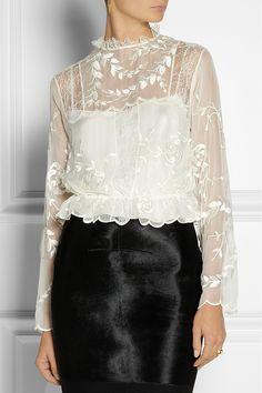 Alberta Ferretti|Embroidered silk-chiffon blouse|NET-A-PORTER.COM