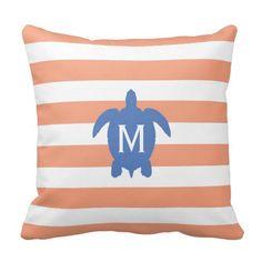 Nautical Blue Sea Turtle & Coral Stripes Monogram Pillows