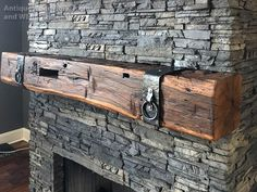 Fireplace Mantels with Metal Straps and Iron Accents part 1 - Antique Woodworks Reclaimed Wood Mantel, Farmhouse Fireplace Mantels, Cabin Fireplace, Rustic Mantel, Wood Mantle, Rustic Fireplaces, Fireplace Remodel, Fireplace Design, Grey Fireplace