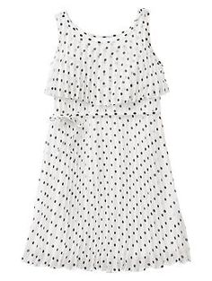 pleasted polka dot dress. so cute in person. would be great with a denim shirt over it
