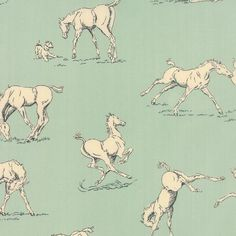 Moda Fabrics - Purebreed by Erin Michael - Horsing Around in Bluegrass is part of the Moda Fabrics Purebreed fabric collection by Erin Michael Horse Wallpaper, Pattern Wallpaper, Horse Fabric, Nancy Notions, Girls Quilts, Dressmaking, Fabric Design, Printing On Fabric, Animales