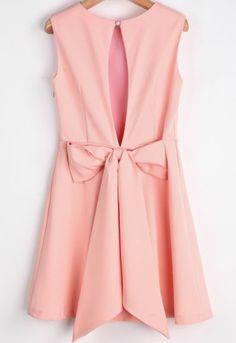 Pink Round Neck Sleeveless Back Bow Dress