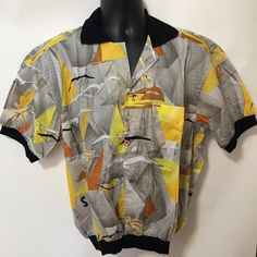 Iconic Italian Designer Nino Mens yachting Resort shirt, kind of shirt you'd see in the Hamptons OR on the Riviera!  Sailboat motif, finest quality, made in Italy, size XL.