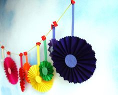Rainbow Garland, Party Decor, Fun Colorful Rosette Ornaments, Cinco de Mayo, Gay Pride celebration or Birthday Decoration by PaperAltar on Etsy