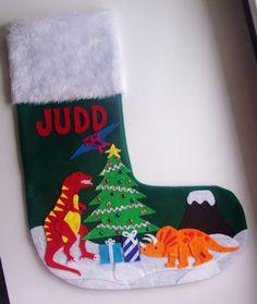 Dinosaur Christmas Stocking Personalized Red Felt by MontanaTwirls ...