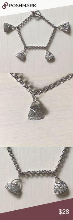 👛CZ Sterling Silver Purse Handbag Charm Bracelet Cubic Zirconia 925 Sterling Silver Purse/Bag Charms Bracelet. In great condition. Jewelry Bracelets