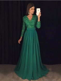 Green Prom Dress With Long Sleeves, Prom Dresses,Graduation Party Dresses, Prom Dresses For Teens on Storenvy