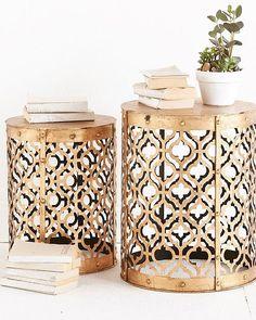 Et ces tables gigognes on en dit quoi ? Style Arabesque * #morocco#moroccan#oriental#dubai#design#decor#modern#interior#interiordesign#craft#traditional#bohemian#chic#cosy#house#home#room#linvingroom#decoration#white#gold#metal#table#book#nature#quadrilobe#beautiful#inspiration#instagood#instagram