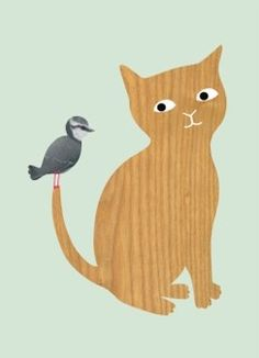 POSTER - KITTY AND BIRD BY AUDREY JEANNE
