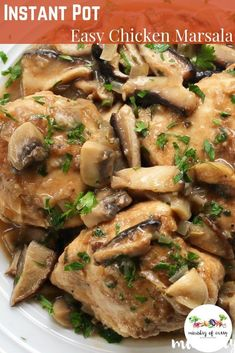 Chicken Marsala, luscious chicken braised in buttery, wine soaked mushrooms and herbs, can be served with a side of garlic mash, crunchy sautéed string beans or some bread to soak up the extra sauce. Instant Pot Dinner Recipes, Best Dinner Recipes, Top Recipes, Crockpot Recipes, Chicken Recipes, Cooking Recipes, Party Recipes, Healthy Chicken, Pressure Cooker Chicken