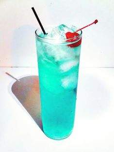 Summer is for sipping! Sip away with this fruity cocktail, which calls for St. Germain, Bacardi, Blue Curaçao, and more!