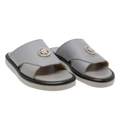 Versace Boys Grey Leather Slide Sandals | New Collection