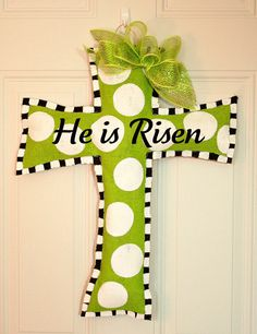 Easter Cross Burlap Door Hanger Christian Faith by sherj87 on Etsy, $35.00