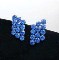 Vintage retro Claude Fabian designer 1986 bright blue swarovsky crystal clip on earrings